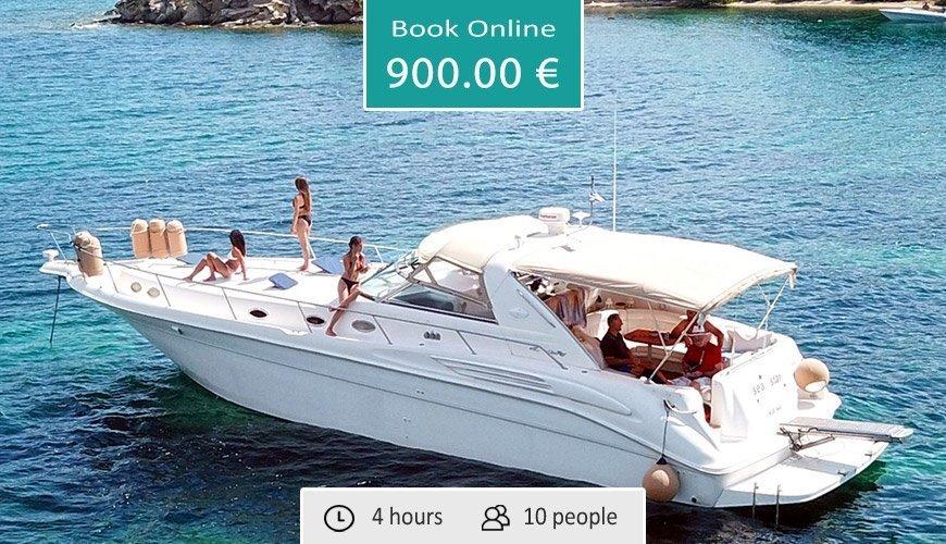 Sea Ray Motor Yacht Half Day Cruise to Diaporos (from Ormos Panagias)